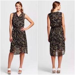 Merona Black Floral Print Sleeveless Shirt Dress